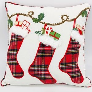 NEW Faux Fur & Red Plaid Stocking Christmas Pillow